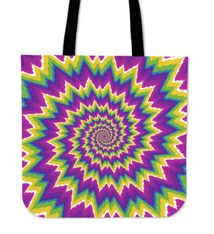 Abstract Spiral Moving Optical Illusion Tote Bag GearFrost