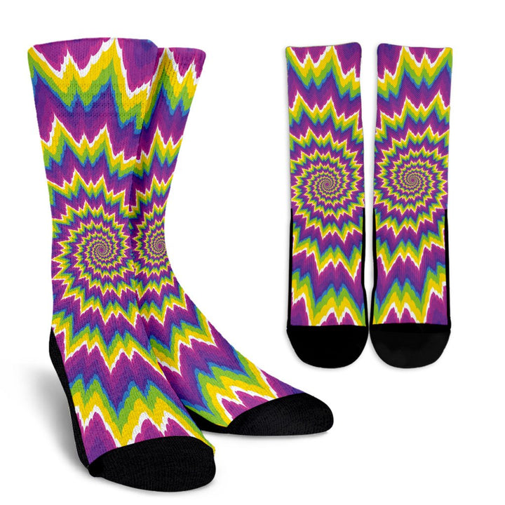 Abstract Spiral Moving Optical Illusion Unisex Crew Socks GearFrost