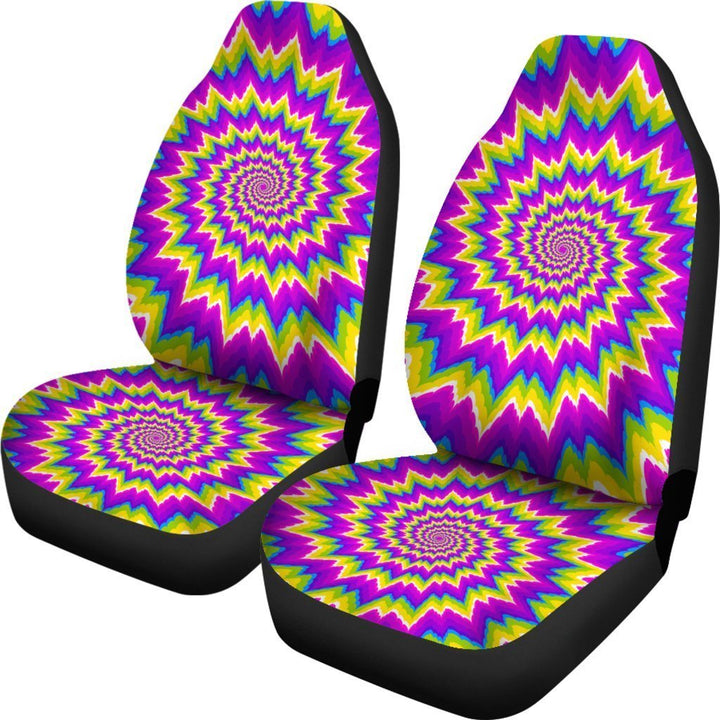 Abstract Spiral Moving Optical Illusion Universal Fit Car Seat Covers GearFrost
