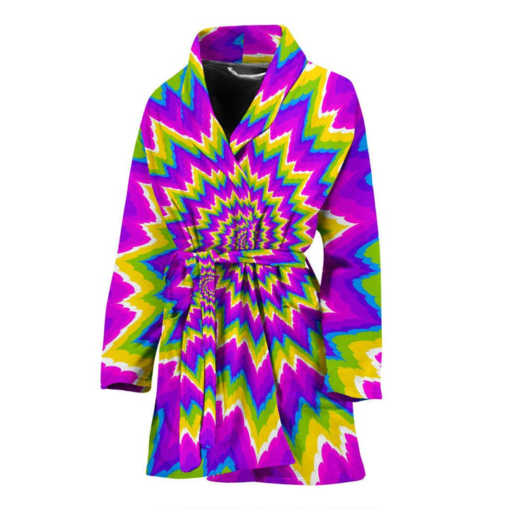 Abstract Spiral Moving Optical Illusion Women's Bathrobe GearFrost