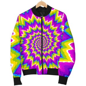 Abstract Spiral Moving Optical Illusion Women's Bomber Jacket GearFrost