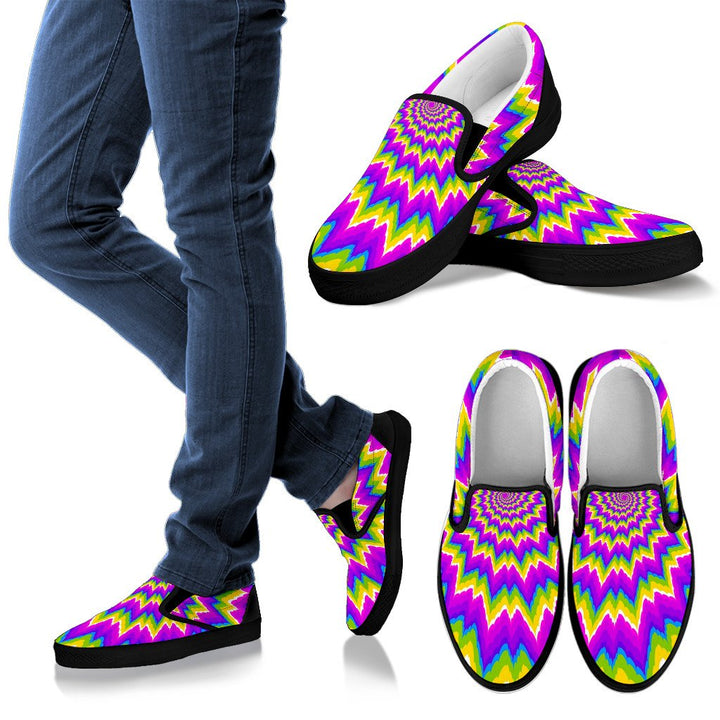 Abstract Spiral Moving Optical Illusion Women's Slip On Shoes GearFrost