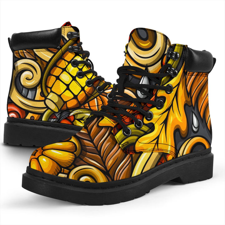 Abstract Sunflower Pattern Print All Season Boots GearFrost