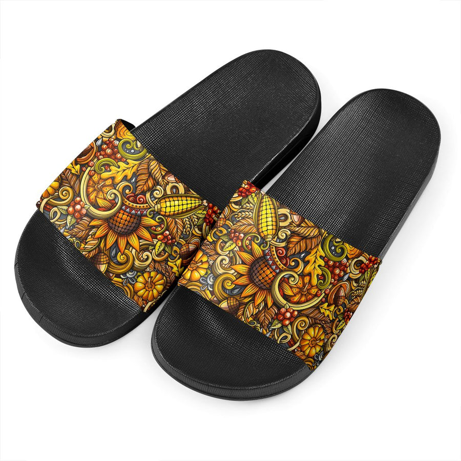 Abstract Sunflower Pattern Print Black Slide Sandals GearFrost