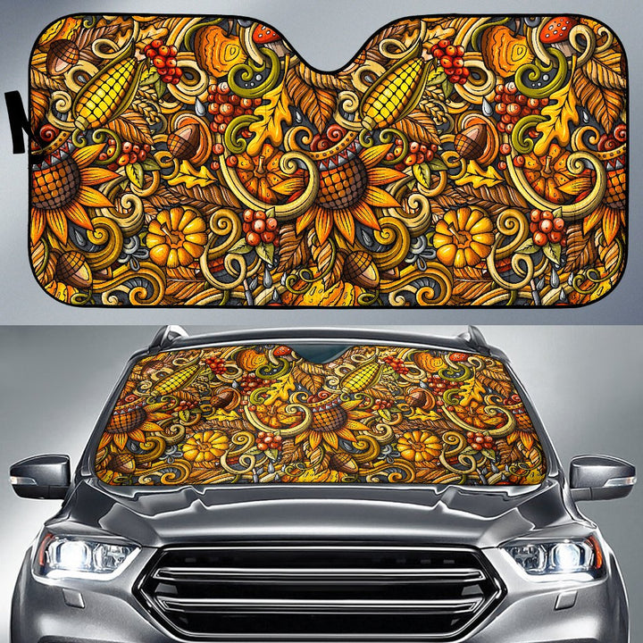 Abstract Sunflower Pattern Print Car Sun Shade GearFrost