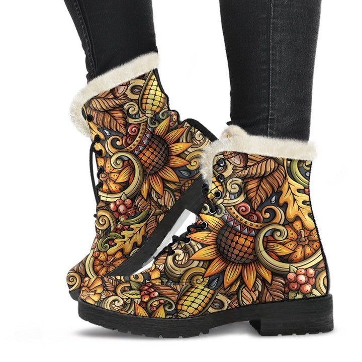 Abstract Sunflower Pattern Print Comfy Boots GearFrost