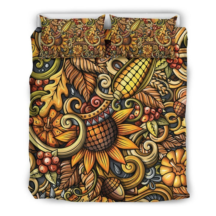Abstract Sunflower Pattern Print Duvet Cover Bedding Set GearFrost