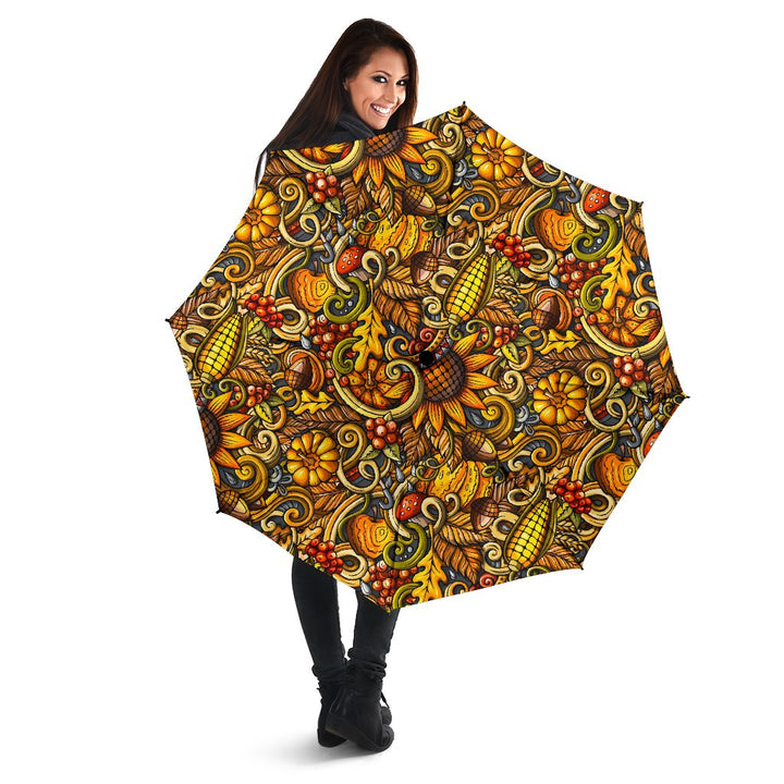 Abstract Sunflower Pattern Print Foldable Umbrella GearFrost