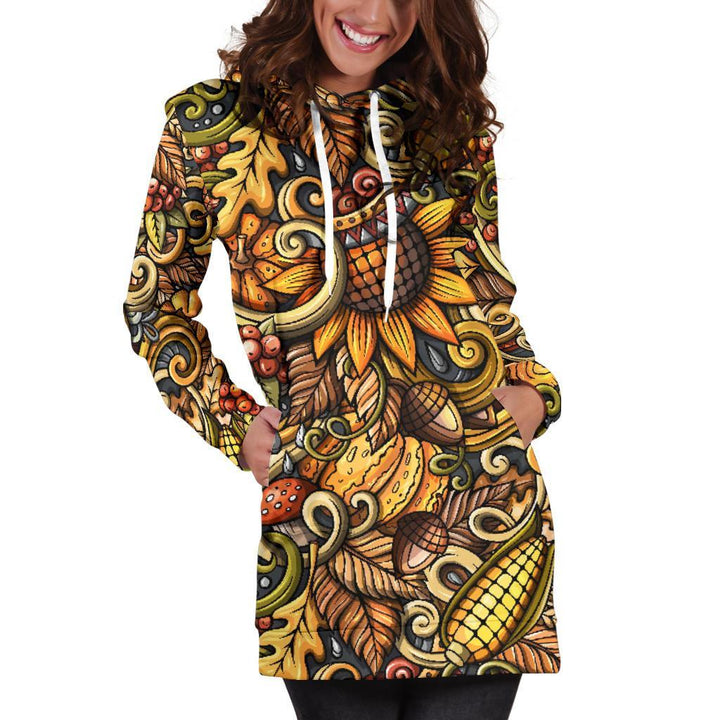 Abstract Sunflower Pattern Print Hoodie Dress GearFrost