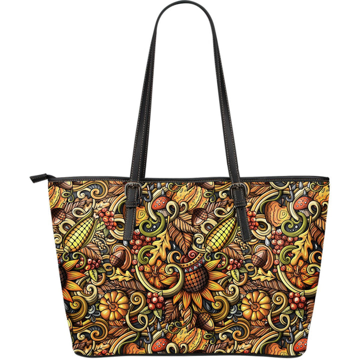 Abstract Sunflower Pattern Print Leather Tote Bag GearFrost