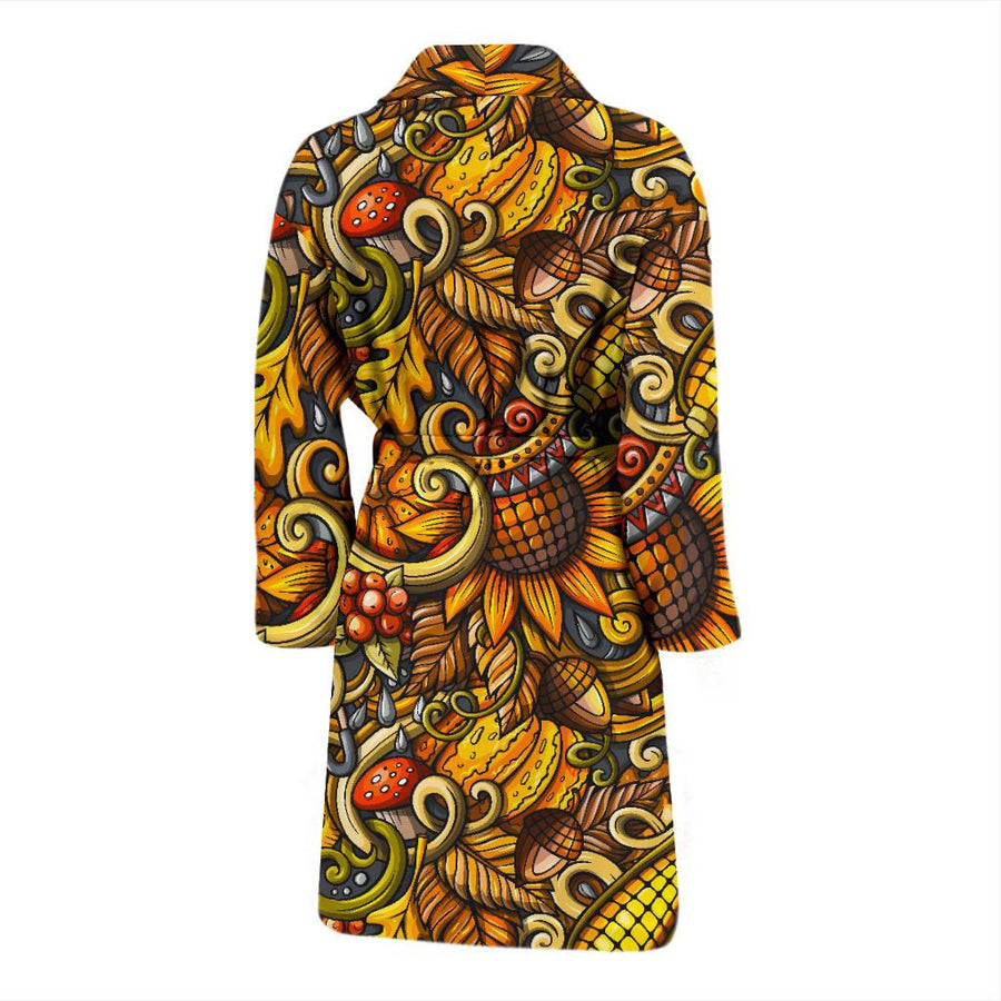 Abstract Sunflower Pattern Print Men's Bathrobe GearFrost