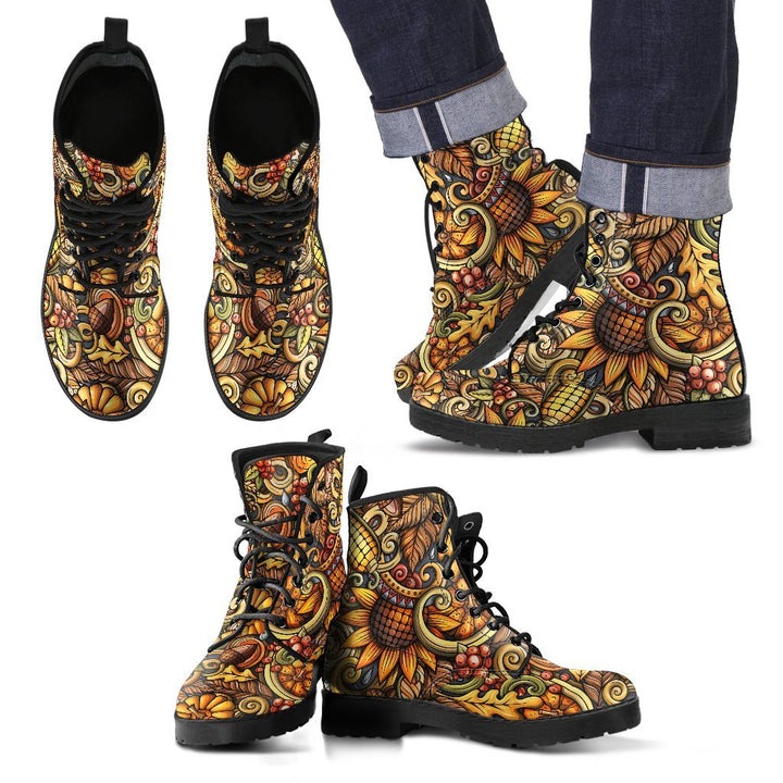 Abstract Sunflower Pattern Print Men's Boots GearFrost