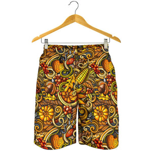 Abstract Sunflower Pattern Print Men's Shorts GearFrost