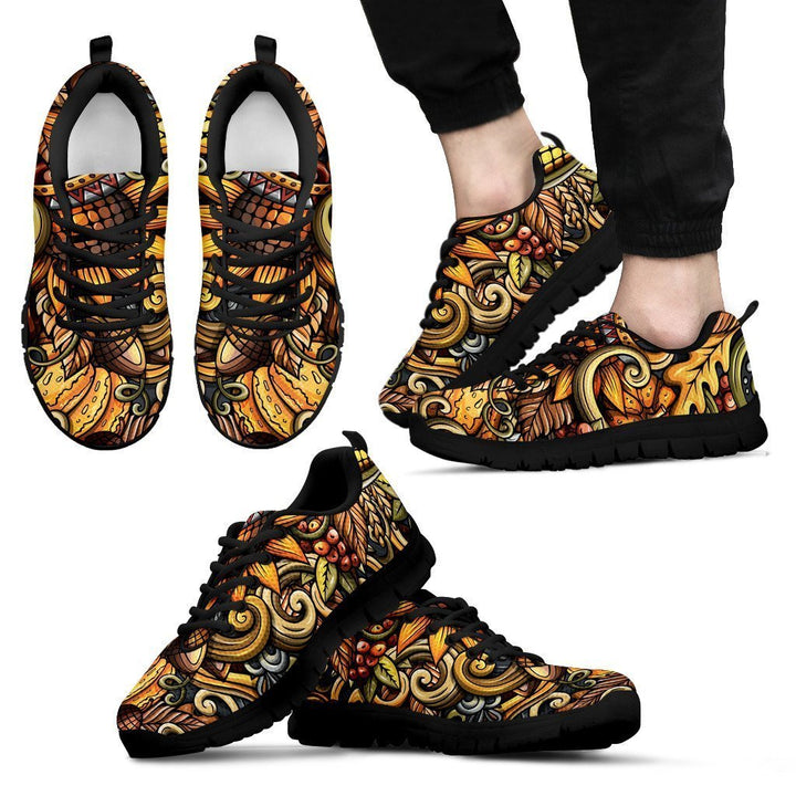 Abstract Sunflower Pattern Print Men's Sneakers GearFrost