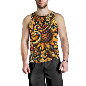 Abstract Sunflower Pattern Print Men's Tank Top GearFrost