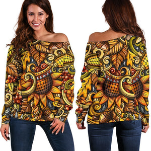 Abstract Sunflower Pattern Print Off Shoulder Sweatshirt GearFrost