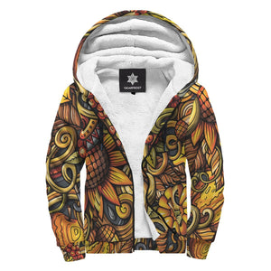 Abstract Sunflower Pattern Print Sherpa Lined Fleece Hoodie GearFrost
