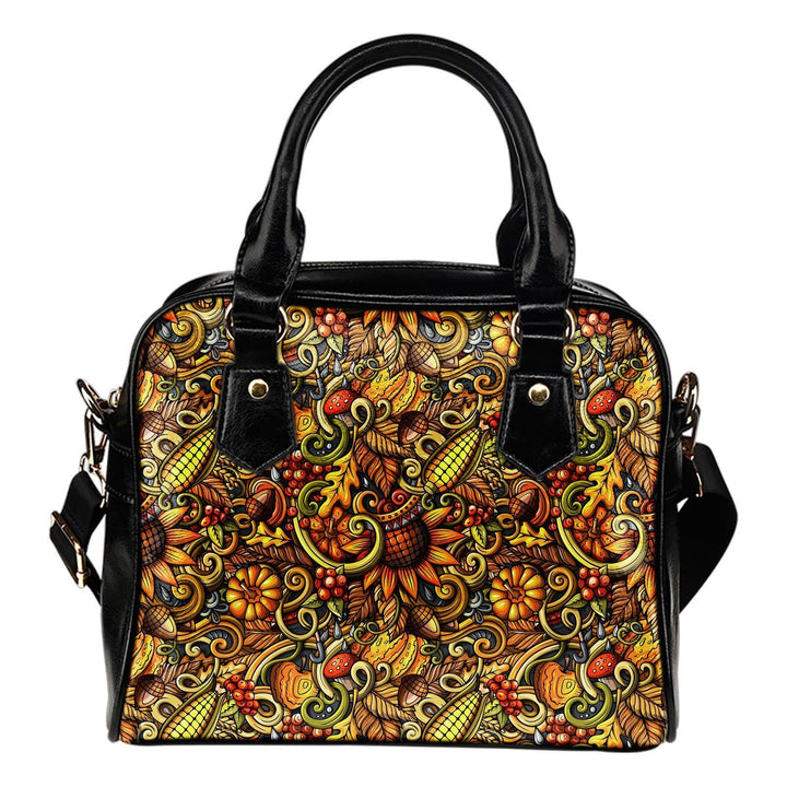 Abstract Sunflower Pattern Print Shoulder Handbag GearFrost
