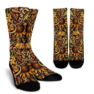 Abstract Sunflower Pattern Print Unisex Crew Socks GearFrost