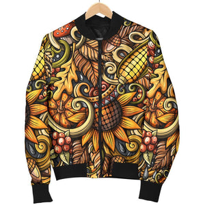 Abstract Sunflower Pattern Print Women's Bomber Jacket GearFrost