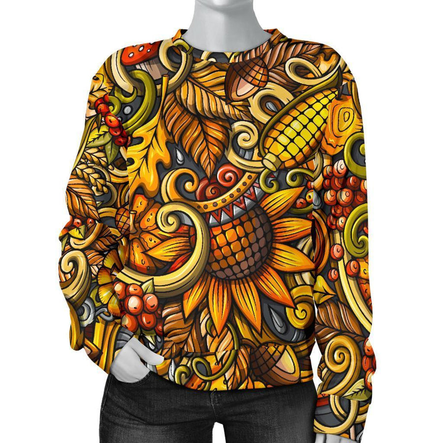 Abstract Sunflower Pattern Print Women's Crewneck Sweatshirt GearFrost