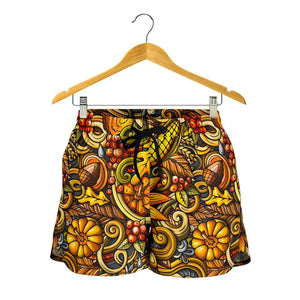 Abstract Sunflower Pattern Print Women's Shorts GearFrost