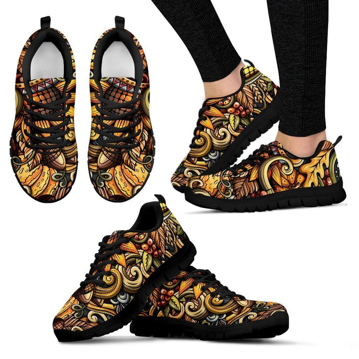 Abstract Sunflower Pattern Print Women's Sneakers GearFrost