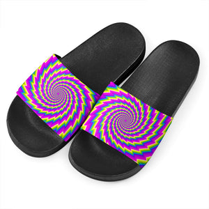 Abstract Twisted Moving Optical Illusion Black Slide Sandals GearFrost