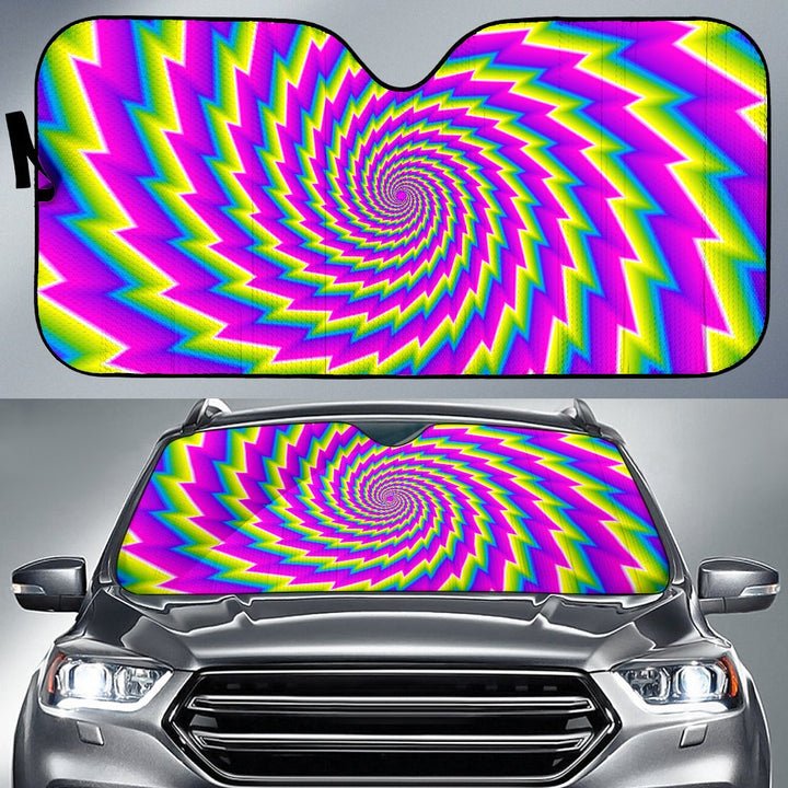 Abstract Twisted Moving Optical Illusion Car Sun Shade GearFrost