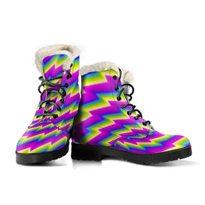 Abstract Twisted Moving Optical Illusion Comfy Boots GearFrost
