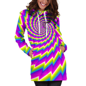 Abstract Twisted Moving Optical Illusion Hoodie Dress GearFrost