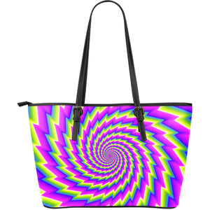 Abstract Twisted Moving Optical Illusion Leather Tote Bag GearFrost