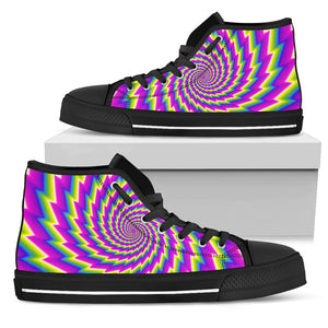 Abstract Twisted Moving Optical Illusion Men's High Top Shoes GearFrost