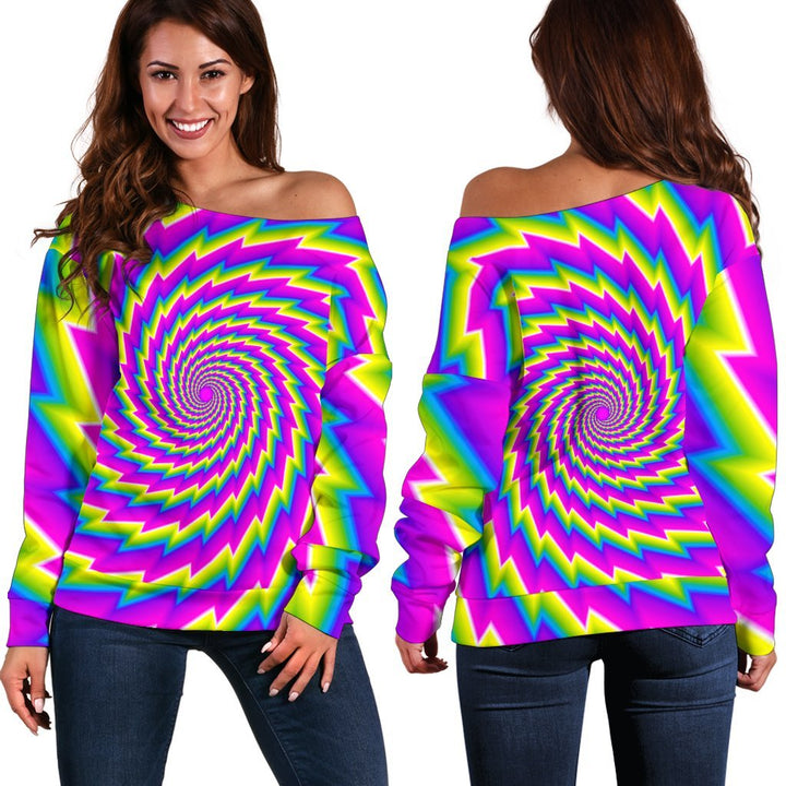 Abstract Twisted Moving Optical Illusion Off Shoulder Sweatshirt GearFrost