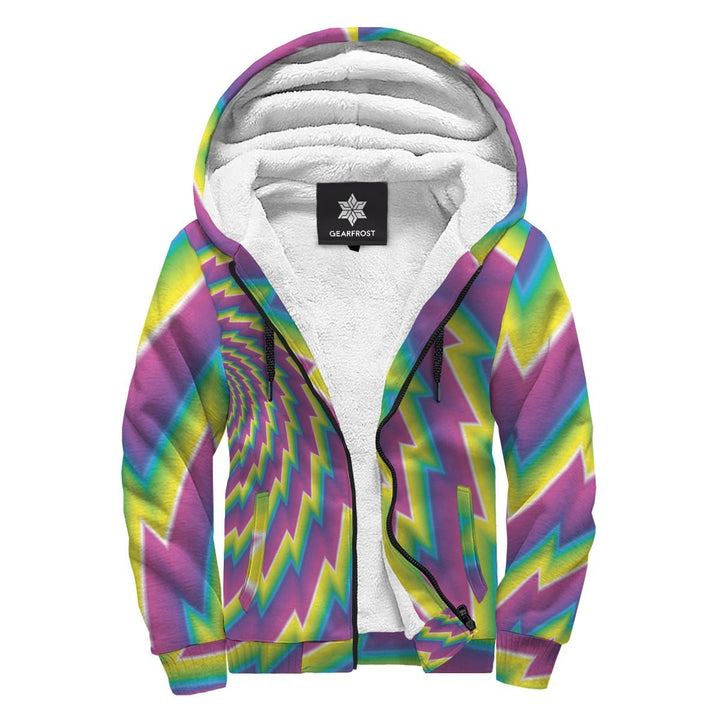 Abstract Twisted Moving Optical Illusion Sherpa Lined Fleece Hoodie GearFrost
