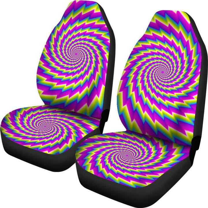 Abstract Twisted Moving Optical Illusion Universal Fit Car Seat Covers GearFrost