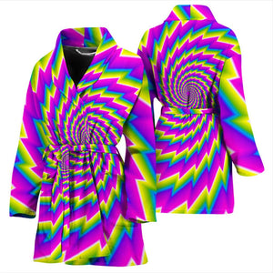 Abstract Twisted Moving Optical Illusion Women's Bathrobe GearFrost