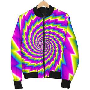 Abstract Twisted Moving Optical Illusion Women's Bomber Jacket GearFrost