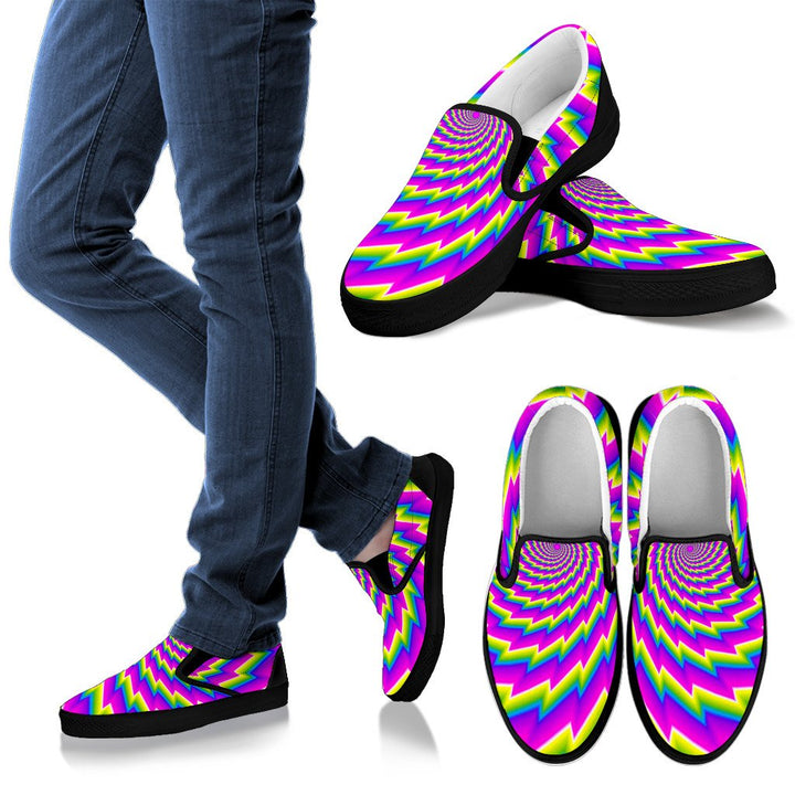 Abstract Twisted Moving Optical Illusion Women's Slip On Shoes GearFrost