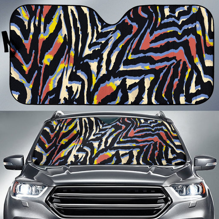 Abstract Zebra Pattern Print Car Sun Shade GearFrost