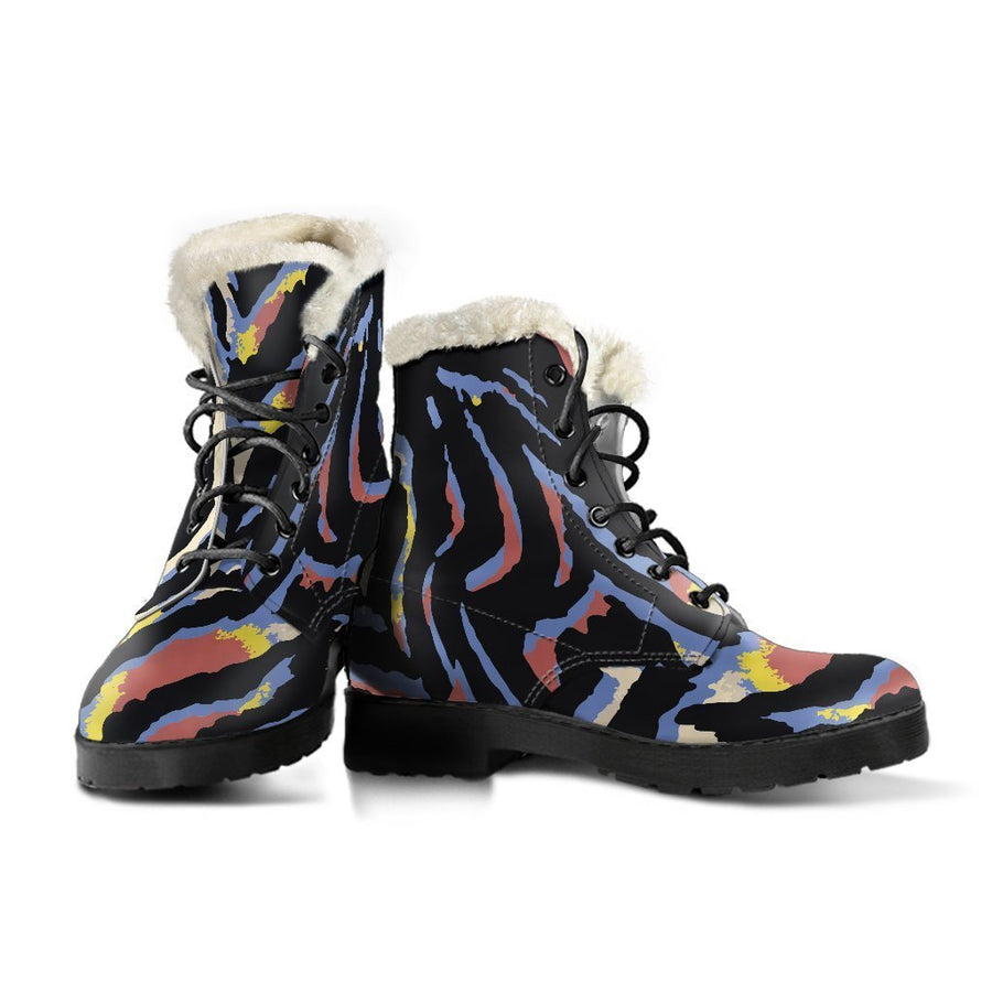 Abstract Zebra Pattern Print Comfy Boots GearFrost