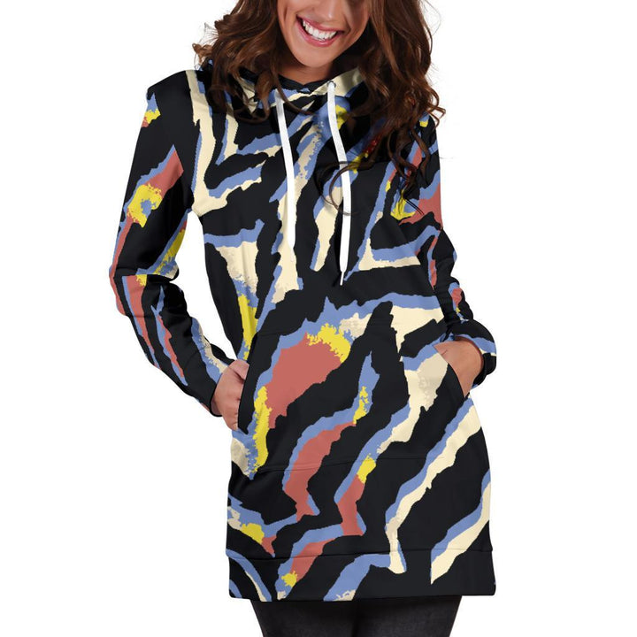 Abstract Zebra Pattern Print Hoodie Dress GearFrost