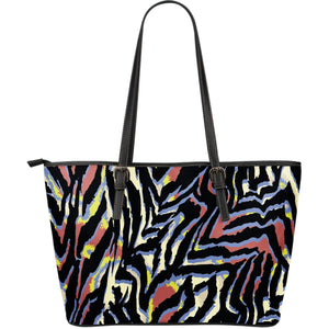 Abstract Zebra Pattern Print Leather Tote Bag GearFrost