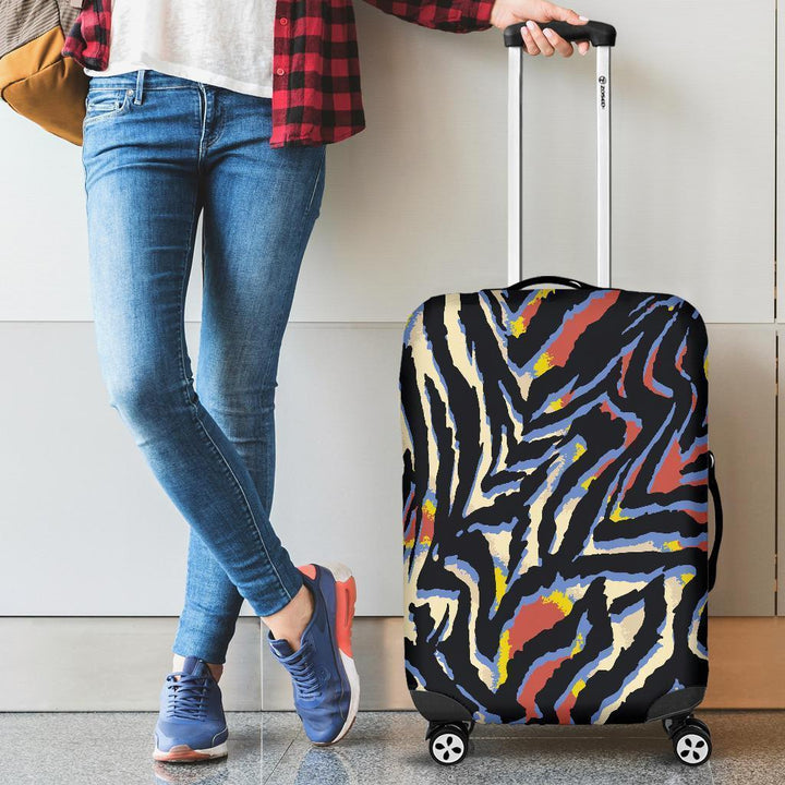 Abstract Zebra Pattern Print Luggage Cover GearFrost