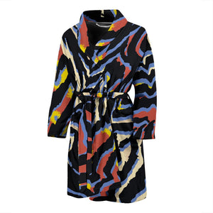 Abstract Zebra Pattern Print Men's Bathrobe GearFrost