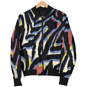 Abstract Zebra Pattern Print Men's Bomber Jacket GearFrost