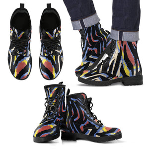 Abstract Zebra Pattern Print Men's Boots GearFrost