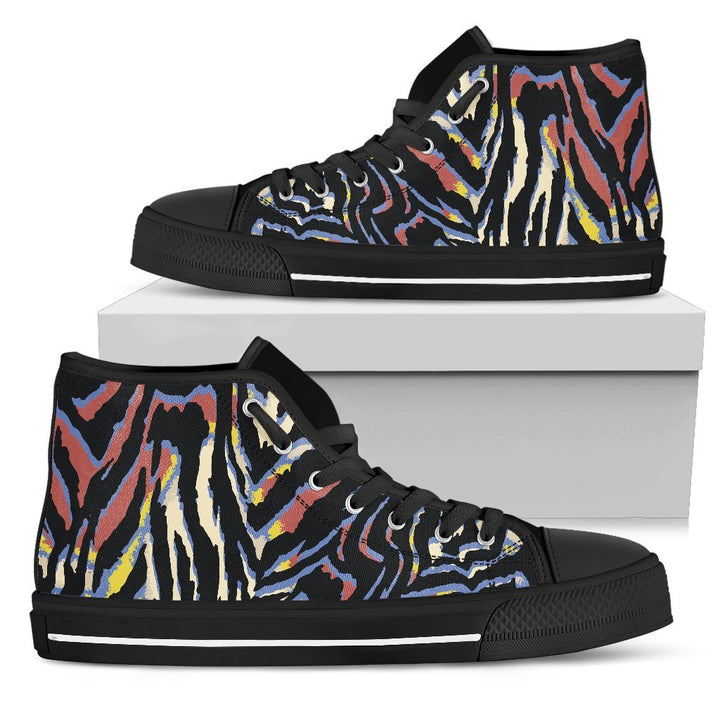 Abstract Zebra Pattern Print Men's High Top Shoes GearFrost