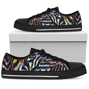 Abstract Zebra Pattern Print Men's Low Top Shoes GearFrost
