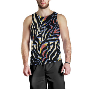 Abstract Zebra Pattern Print Men's Tank Top GearFrost